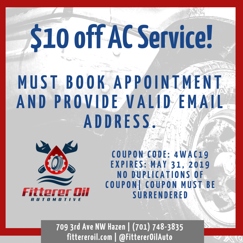 Coupon for $10 off of an AC Service at Fitterer Oil Automotive in Hazen, ND