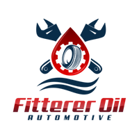 Two wrenches and an oil drop. Within the oil drop is a tire and a gear. This is a logo for Fitterer Oil Automotive.